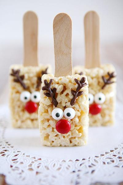Rice crispy Reindeer party snacks for boxing day kids treats!