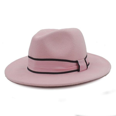 https://www.feathersofitaly.co.uk/collections/hats/products/womens-wool-fedora-hat-chapeu-feminino-cloche-wide-brim-jazz-church-homburg-sombrero-caps-pink-ribbon