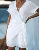 A stunning Linen Summer cross front tie side dress, new improved sizing fits up to uk 14 by Feathers Of Italy
