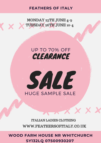Huge Outlet sale at Feathers Of Italy
