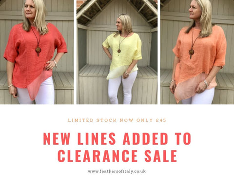 Huge clearance sale now on Feathers Of Italy Clothing