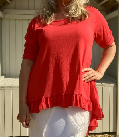 https://www.feathersofitaly.co.uk/collections/tops/products/100-cotton-long-sleeved-t-shirt-top-with-frill-in-red-made-in-italy-by-feathers-of-italy-one-size