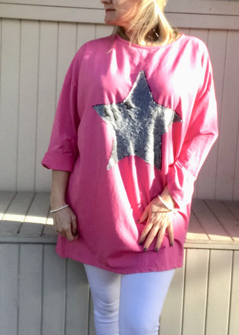 https://www.feathersofitaly.co.uk/products/copy-of-day-dreamer-star-t-shirt-in-cerise-pink-made-in-italy-by-feathers-of-italy-one-size