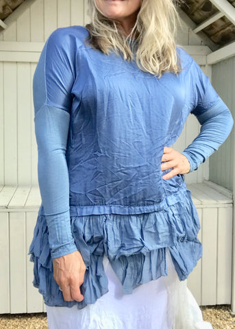 https://www.feathersofitaly.co.uk/products/silk-ruffle-bottom-tunic-blue