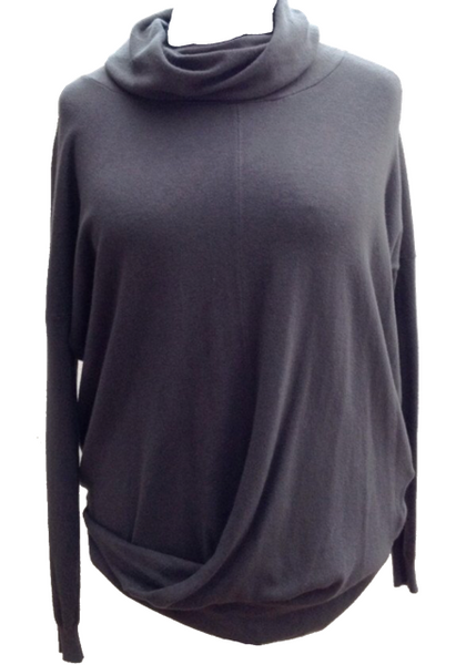 Romo Twist Jumper in Slate Grey - Feathers Of Italy