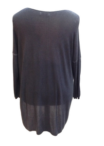 Long Lana Soft Fine Knit Jumper in Blue Made In Italy By Feathers Of Italy One Size - Feathers Of Italy