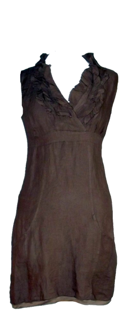 Amalfi Linen Ruffle Dress in Mocha