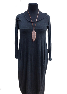 Nia Pouch Maxi Dress in Slate - Feathers Of Italy
