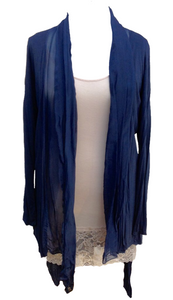 Silk and Jersey Flute Wrap in Navy - Feathers Of Italy