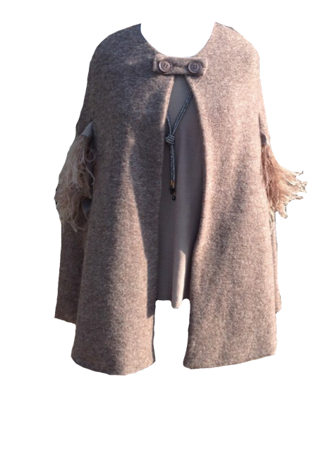 Mantella Di Lana Wool Cape in Mocha - Feathers Of Italy