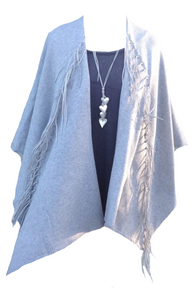 Naples Fringe Wrap in Soft Grey - Feathers Of Italy