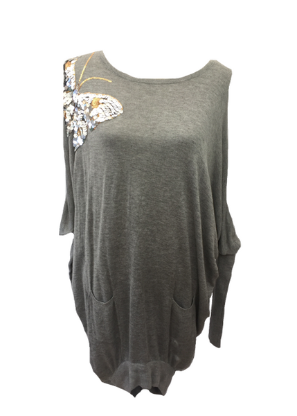 Butterfly Sequined Jumper in Grey - Feathers Of Italy