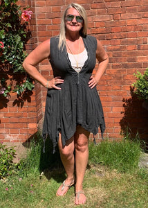 Vienna Zip Linen Dress in Slate - Feathers Of Italy