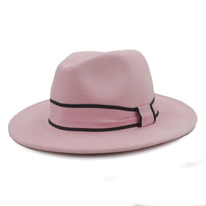 Womens Wool Fedora Hat Chapeu Feminino Cloche Wide Brim Jazz Church Homburg Sombrero Caps Pink Ribbon - Feathers Of Italy