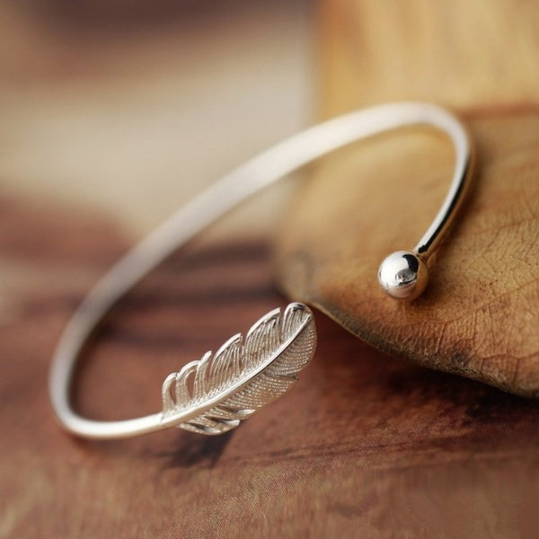 Angel Feather 925 Sterling Silver Bracelet Adjustable Cuff Bracelet Bangle - Limited Edition - Feathers Of Italy