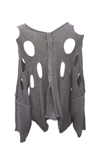 Alba Holed Jumper in Grey - Feathers Of Italy