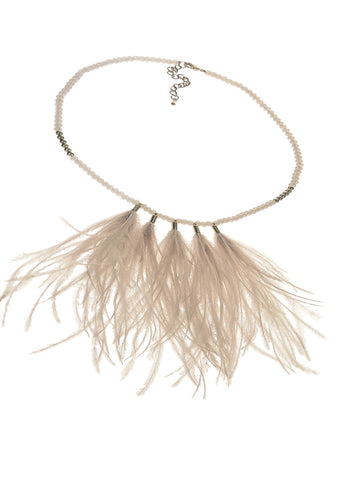 Birds of A Feather Necklace- Natural - Feathers Of Italy