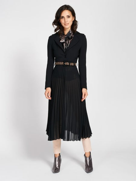 Plissé Coat Midi Crepe Long Coat in Black - Rinascimento By Feathers Of Italy - Feathers Of Italy