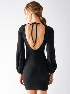 Rinascimento Dress - Low Back In Black Shimmer - Feathers Of Italy