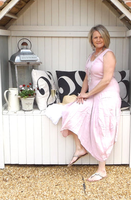Long Linen Maxi Dress in Pink - Feathers Of Italy
