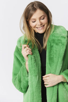 Isola Bella Verde Green Faux Fur Coat with Belt