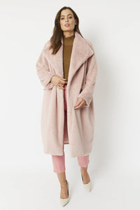 Praiano Faux Fur Oversized Coat Powder Pink - Various Colours