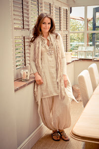 Amalfi Linen Ruffle Dress in Mocha Made In Italy by Feathers Of Italy Size L - Feathers Of Italy