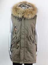Load image into Gallery viewer, Fur Hood Parker Gilet with sequinned detail in Green - Feathers Of Italy