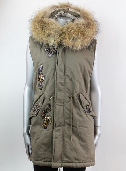 Fur Hood Parker Gilet with sequinned detail in Green