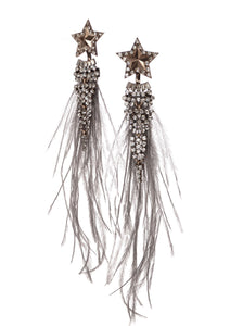 Limited Edition Wishing on A Star Earrings - Grey Mixed Crystal - Feathers Of Italy