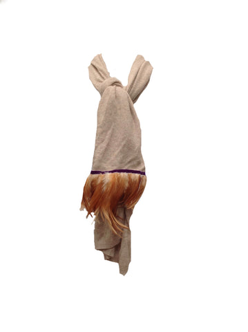 Naples Cashmere Scarf with Feather Trim in Beige