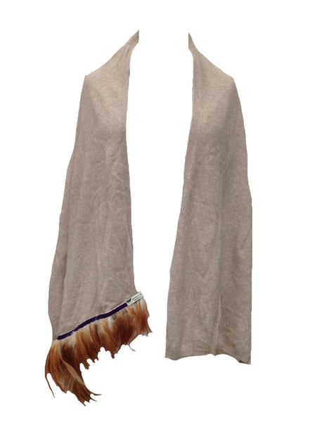 Naples Cashmere Scarf with Feather Trim in Beige - Feathers Of Italy