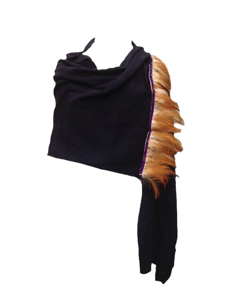 Naples Cashmere Scarf with Feather Trim in Navy - Feathers Of Italy
