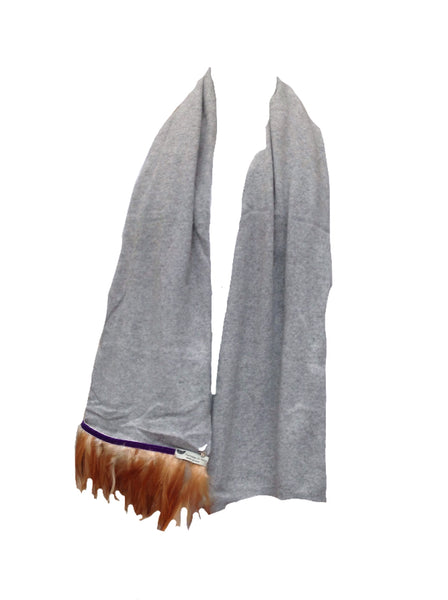 Naples Cashmere Scarf with Feather Trim in Grey - Feathers Of Italy