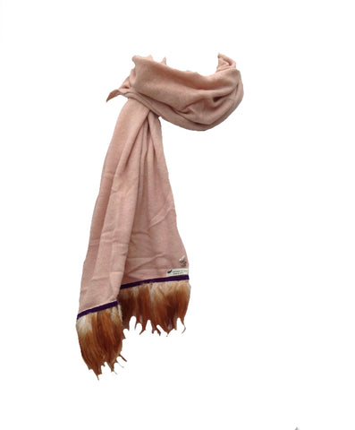 Naples Cashmere Scarf with Feather Trim in Pink