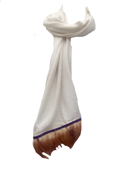 Naples Cashmere Scarf with Feather Trim in Cream - Feathers Of Italy