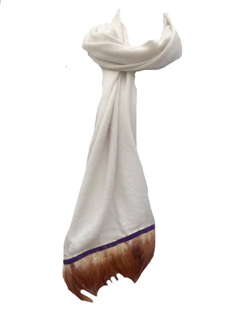 Naples Cashmere Scarf with Feather Trim in Cream