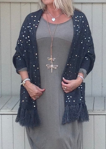 Luxury Cashmere Sequined Wrap in Slate Grey