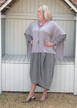 Load image into Gallery viewer, Santa Christina Button Poncho in Mink - Feathers Of Italy