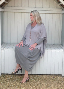 Santa Christina Button Poncho in Mink - Feathers Of Italy