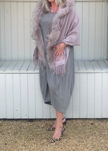 Nia Pouch Maxi Dress in Soft Beige - Feathers Of Italy