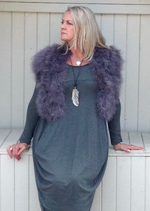 Marabou Feather Collar in Grey Lilac & Mocha - Feathers Of Italy