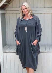Nia Pouch Maxi Dress in Grey - Feathers Of Italy