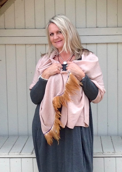 Naples Cashmere Scarf with Feather Trim in Pink - Feathers Of Italy