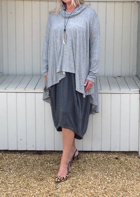 Swing Top with Cowl in Marl Grey - Feathers Of Italy