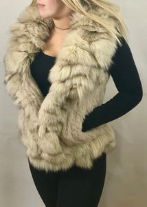 Luxury Fur Gilet in Cream by Feathers Of Italy - Feathers Of Italy