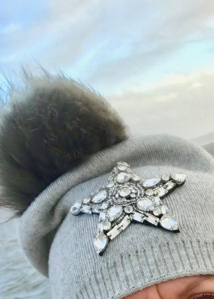 Star Knitted Diamonte Real Fur Bobble Hat in Grey - Feathers Of Italy
