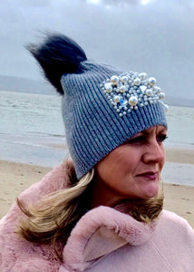 Feathers Of Italy Pearls and Diamonds Knitted Real Fur Bobble Hat in Grey and Mocha