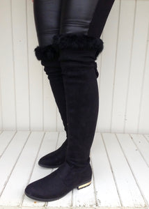The Kensington Over the knee luxury flat boot with gold in-lay heal and real fur trim in Black - Feathers Of Italy