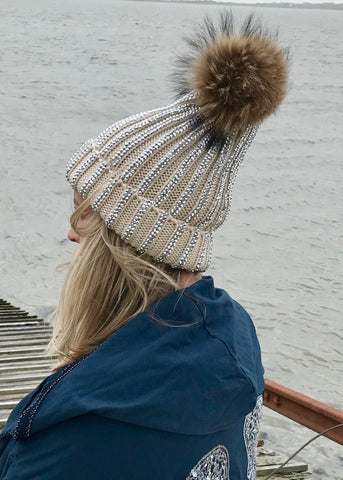 Florence Knitted Diamonte Real Fur Bobble Hat in Cream - Feathers Of Italy